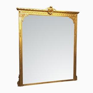 Espejo victoriano antiguo grande de madera tallada y dorada