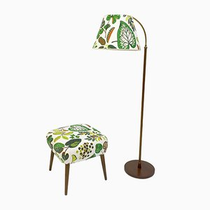 Vintage Austrian Floor Lamp & Stool Set by Josef Frank, 1950s