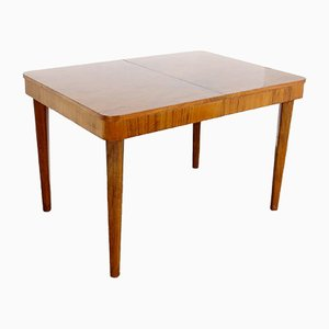 Tavolo da pranzo vintage allungabile in legno di Jindřich Halabala per UP Závody, anni '30