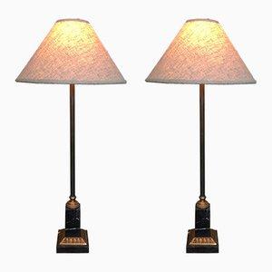 Lámparas de mesa de latón y mármol, años 70. Juego de 2