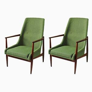 Fauteuils Mid-Century Verts, années 60, Set de 2
