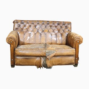 Vintage French Brown Leather 2-Seater Sofa, 1920s