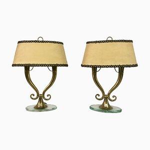 Lámparas de mesa italianas Mid-Century de latón y vidrio, años 50. Juego de 2