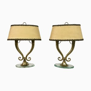 Mid-Century Italian Brass & Glass Table Lamps, 1950s, Set of 2