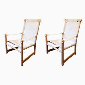 Schwedische Vintage Safari Stühle aus Buche & Leinen, 1960er, 2er Set
