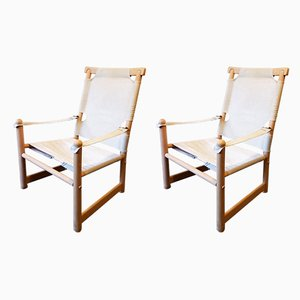 Vintage Swedish Beech & Canvas Safari Lounge Chairs, 1960s, Set of 2