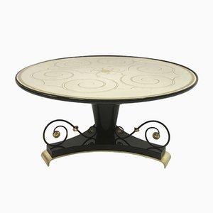 Vintage French Black Lacquer & Verre Églomisé Gueridon Coffee Table, 1940s