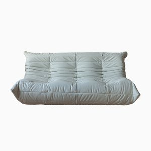 Vintage White Leather 3-Seater Togo Sofa by Michel Ducaroy for Ligne Roset, 1990s