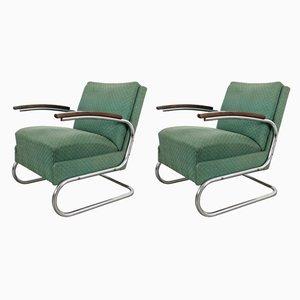 Sillones Bauhaus de acero tubular, años 30. Juego de 2