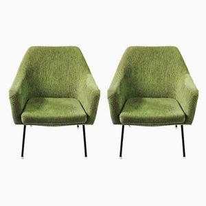 Green Shell Armchairs from VEB Sitzmöbelwerke Waldheim , 1960s, Set of 2