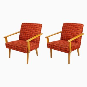 Vintage Red Lounge Chairs, 1960s, Set of 2