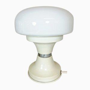 Lampada da tavolo vintage in metallo bianco e vetro opalino, anni '70