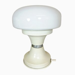 Vintage White Metal & Opaline Glass Table Lamp, 1970s