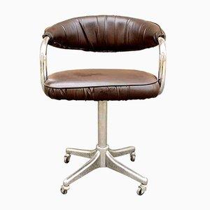 Chaise de Bureau Pivotante en Chrome et Cuir Éco par Giotto Stoppino pour Kartell, Italie, 1972