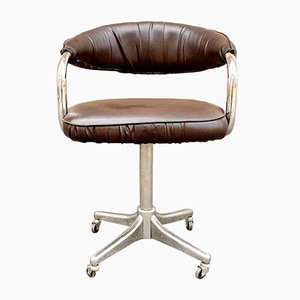 Italian Chrome & Eco Leather Swivel Desk Chair by Giotto Stoppino for Kartell, 1972