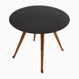 Mesa de centro vintage redonda de palisandro de Osvaldo Borsani para Atelier Borsani Varedo, años 40