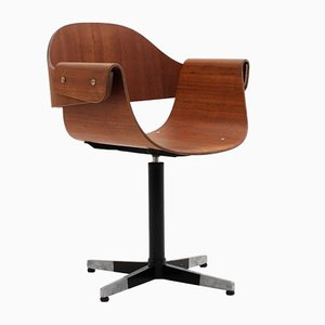 Vintage Teak Swivel Chair by Carlo Ratti, 1950s