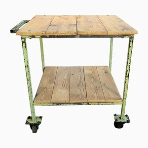 Vintage Industrial Green 2-Tier Trolley, 1960s