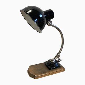 Schwarz emaillierte Vintage Schreibtischlampe, 1930er