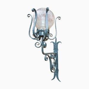 Lampada da tavolo Art Nouveau antica in ferro battuto