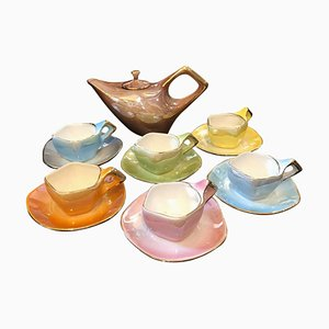 Mid-Century Italian Modern Multicolored Ceramic Tea Set from Italo Casini, 1950s