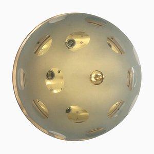 Lampada da soffitto Mid-Century moderna in ottone e vetro, Italia, anni '60