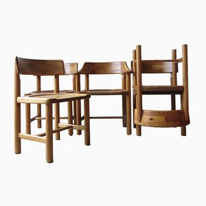 Sedie da pranzo vintage in pino di Rainer Daumiller, set di 5