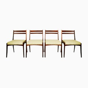 Yellow Teak Framed Dining Chairs, 1960s, Set of 4