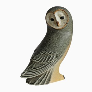 Swedish Stoneware Owl Sculpture by Paul Hoff for Gustavsberg, 1980s