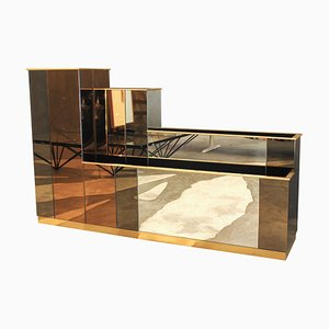 Italian Mirrored Planter Room Divider, 1980s