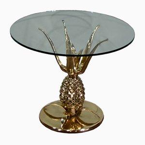 Table Basse Ananas Sculpturale en Laiton et Verre, années 70