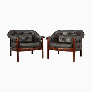Leather Armchairs by Arne Norell, 1960s, Set of 2