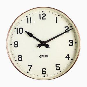 Reloj de pared de fábrica de cobre de Gents of Leicester, años 30