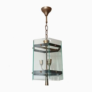 French Brass & Glass Ceiling Lamp, 1950s