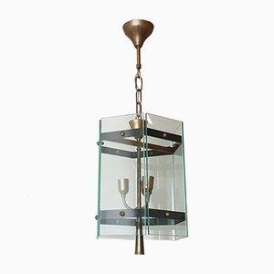 Lámpara de techo francesa de latón y vidrio, años 50