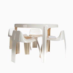 Table de Salle à Manger et 4 Chaises par Gingembre Patrick pour Paulus, années 60