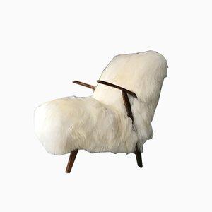 Fauteuil Vintage Art Déco en Peau de Mouton Blanche & Bois Courbé
