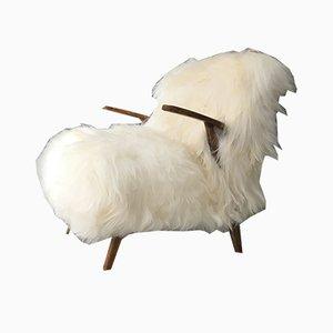 Vintage Art Déco Sessel mit Gestell aus Bugholz & weißem Schafsfellbezug