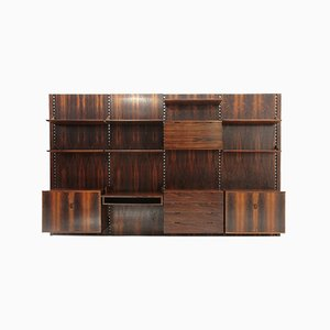Italian Wood and Brass Wall Unit by Marco Comolli for Mobilia, 1960s