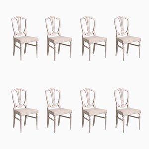 Antike gustavianische Esszimmerstühle, 8er Set