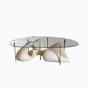 French Brass Sculpture Coffee Table, 1960s