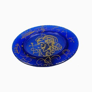 Blue & Gold Molten Glass Plate by Salvador Dali for Daum, 1970s