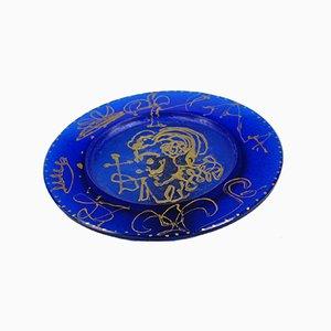 Piatto in vetro fuso blu e oro di Salvador Dali per Daum, anni '70