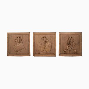 Antique Bleached & Carved Oak Panels, Set of 3