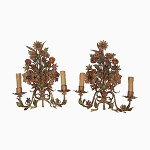 Antique Flower Sconces, Set of 2
