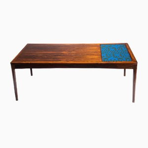 Large Rosewood & Enamel Coffee Table, 1960s