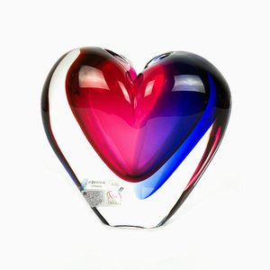 Heart Shaped Blown Murano Glass Vase by Michele Onesto for Made Murano Glass, 2019