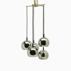 Mid-Century Dutch Chrome 5-Globe Ceiling Lamp, 1960s