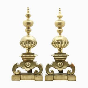 Large Antique English Cast Brass Andirons, Set of 2