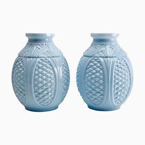 Vases Anciens Art Nouveau en Verre Opalin de Portieux Vallerysthal, France, Set de 2